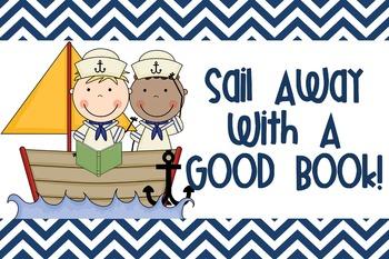 Nautical Chevron Sail Away With a Good Book 30X20 Poster