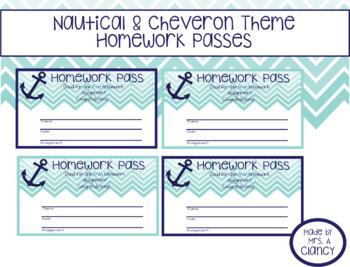 Nautical/Chevron Themed Homework Passes