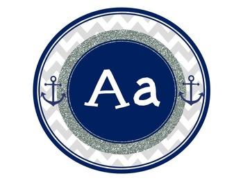 Nautical Chevron Word Wall Alphabet Letters