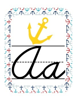 Nautical Classroom ABC Cursive Printables
