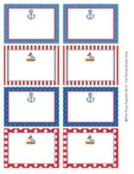 Nautical Classroom Bin Tag Labels