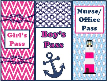 Nautical Classroom Theme Bundle Free:Hot Pink and Navy