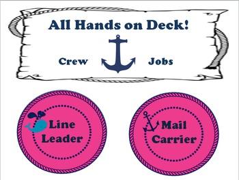 Nautical Classroom Theme Bundle Free:Hot Pink and Navy