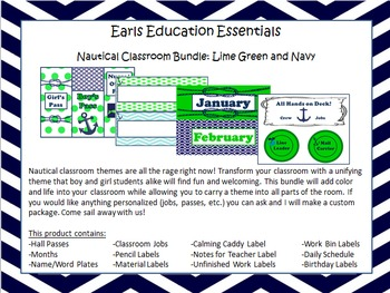 Nautical Classroom Theme Bundle: Lime Green and Navy