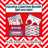 Nautical Classroom Theme Bundle Red and Navy