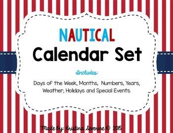 Nautical Classroom Calendar Set