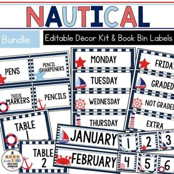 Nautical Classroom Decor & Book Bin BUNDLE