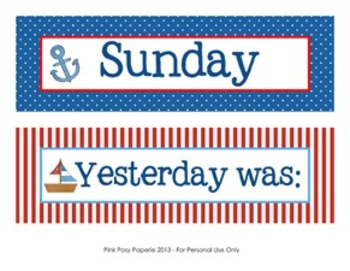 Nautical Classroom Decor Days of the Week Calendar Headers