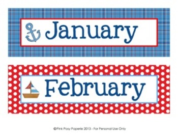 Nautical Classroom Decor Monthly Calendar Headers