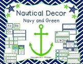 Nautical Classroom Decor: Navy and Green, Editable