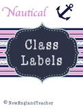 Nautical Classroom Decor: Pink and Blue Anchor Labels