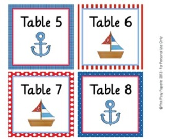 Nautical Classroom Decor Table Numbers