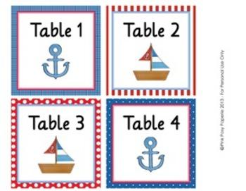 Nautical Classroom Decor Table Numbers