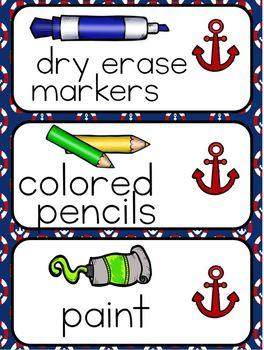 Nautical Theme Classroom Decor and Organization Pack (editable)