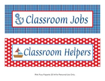 Nautical Classroom Job Helpers Set