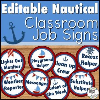 Nautical Classroom Job Signs