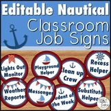 Editable Nautical Theme Classroom Job Signs