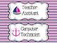Nautical Classroom Jobs - Pink & Navy