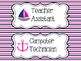 Nautical Classroom Jobs - Pink & Navy