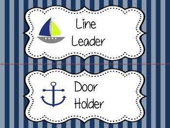Nautical Classroom Jobs - Pocket Chart or Velcro