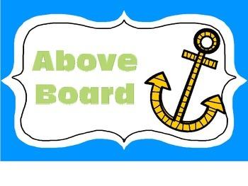 Nautical Classroom Management Clip Chart