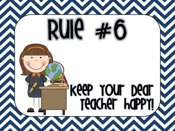 Nautical Chevron Classroom Rules (Whole Brain Teaching Inspired)