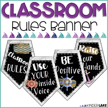 Classroom Rules Banner - Watercolor Nautical