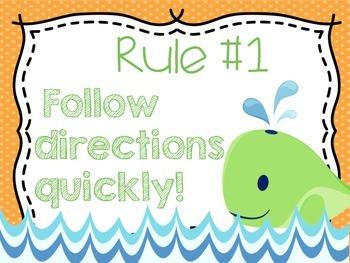 Nautical Classroom Rules {Orange and Lime}
