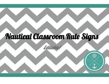 Nautical Classroom Rules Signs (Editable!)