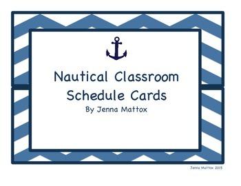 Nautical Classroom Schedule Cards