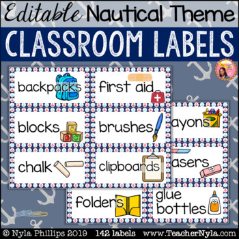 Nautical Classroom Supply Labels with Pictures - Editable