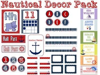 Nautical Classroom Theme Decor Packet {EDITABLE}