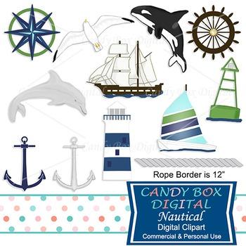 Nautical, Ocean, Beach, Water Clip Art W/ Lighthouse, Boats, Dolphin and Orca