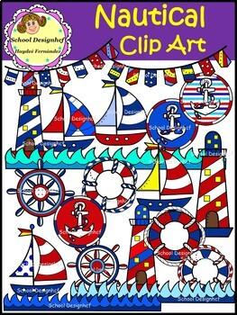 Nautical Clip Art - Anchor,Sailboat,Lighthouse (School Design)