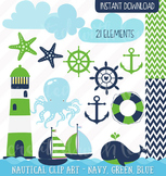 Nautical Clip Art - Navy Green and Blue