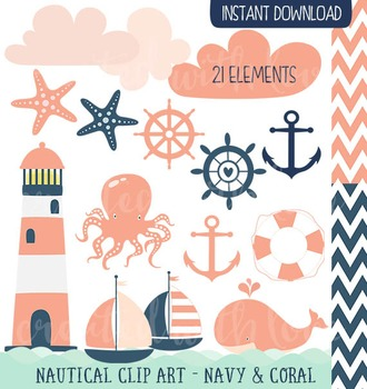 Nautical Clip Art - Navy and Coral