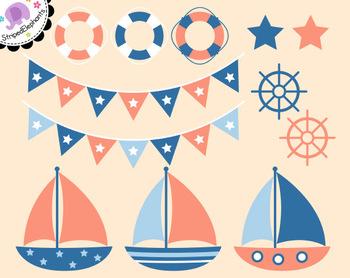 Nautical Clip Art - Sailing Clip Art - Navy and Peach