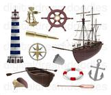 Nautical Clip Art - Ocean Lighthouse Digital Graphics