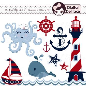 Nautical Clip Art, Sailboat, Anchor, Lighthouse, Whale, Starfish Clipart