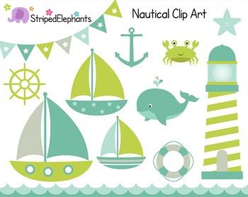Nautical Clip Art - Sailing Clip Art - Green Tones