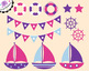 Nautical Clip Art - Sailing Clip Art - Pink and Purple
