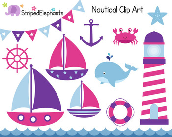 Nautical Clip Art - Sailing Clip Art - Pink and Purple