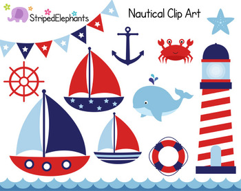Nautical Clip Art - Sailing Clip Art - Red and Navy