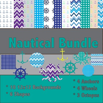 Nautical Clip Art and Background Bundle