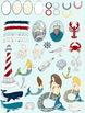 Nautical Clip Art, Mermaid, Crab, Ocean Life Clipart, Sailor Digital Graphics