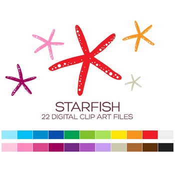 Nautical Clipart - 22 digital starfishes / 2x2 inches - A00054