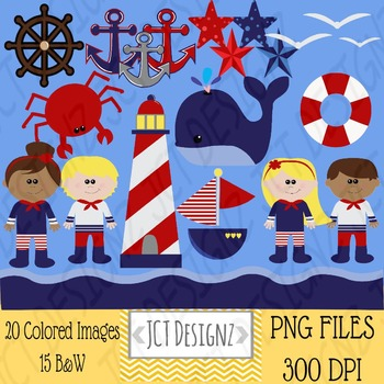 Nautical Clipart: Nautical clip art, anchor, lighthouse,whale, sailor, sailboat.