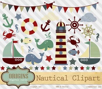 Nautical Clipart - Retro Colors