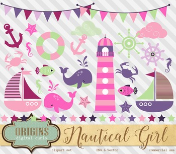 Nautical Clipart in Girl Colors