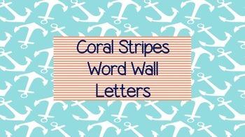 Nautical Coral Stripes Word Wall Alphabet